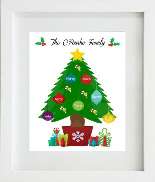 Personalised Family Christmas Tree Baubles Print